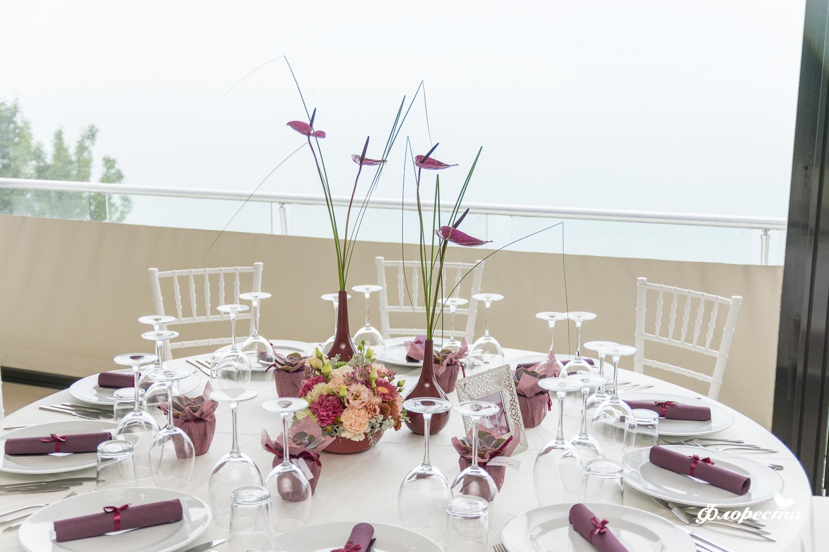 Тържествена декорация за сватбено туржество с марсала