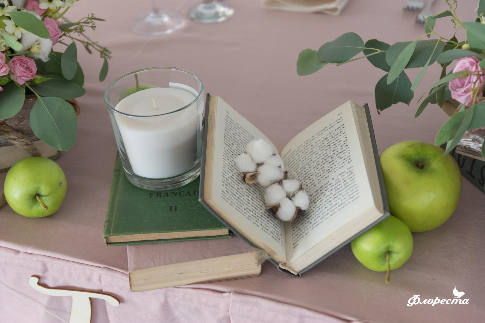 Декорация за масата на младоженците